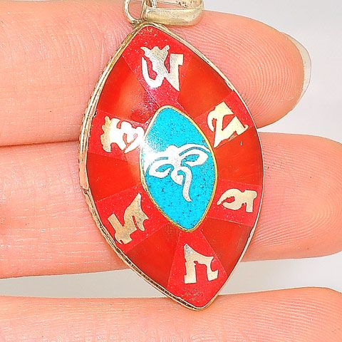 Sterling Silver Tibetan Coral and Turquoise Inlay Buddha Eye Pendant