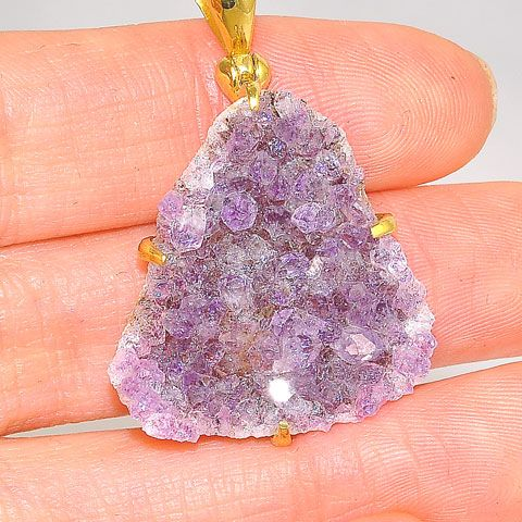 18K Gold Plated Over Brass Amethyst Druzy Pendant