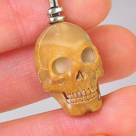 Sterling Silver Fossil Mammoth Ivory Skull Pendant