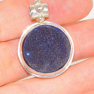 Sterling Silver Blue Druzy Circle Pendant