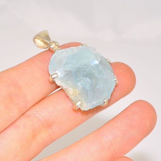 Sterling Silver 34.9 Carats Rough Aquamarine Carved Egyptian Figure Pendant