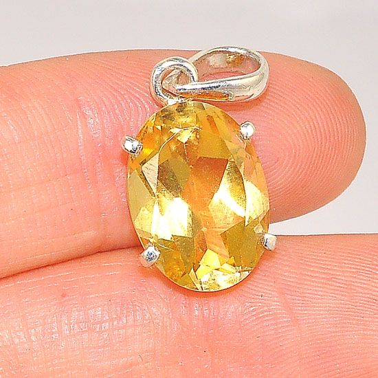 Sterling Silver Faceted Citrine Oval Pendant
