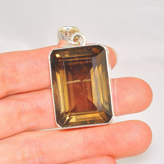 Charles Albert Sterling Silver Smokey Quartz Rectangle Pendant