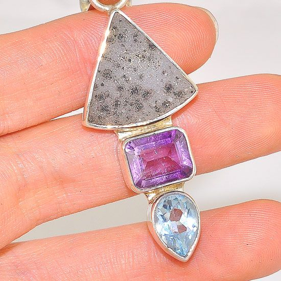 Charles Albert Sterling Silver White Druzy, Amethyst and Aquamarine Pendant