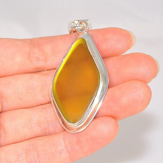 Charles Albert Sterling Silver Yellow Beach Glass Pendant