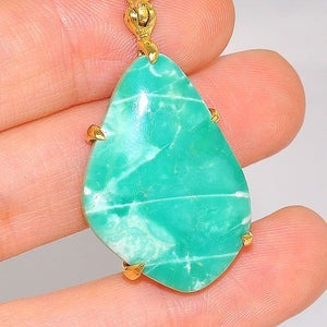 18K Gold Plated Over Brass 19.3-Carats Variscite Pendant