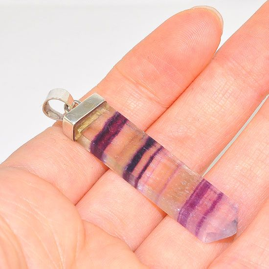 Sterling Silver Fluorite Crystal Bar Pendant