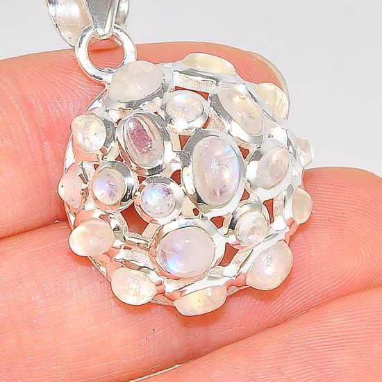 Sterling Silver Moonstone Jeweled Bubble Medallion Pendant