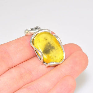 Sterling Silver Baltic Butterscotch Oval Silver Framed Pendant