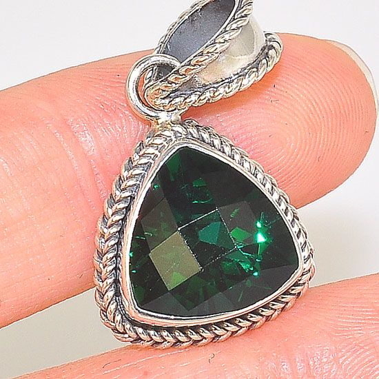 Sterling Silver Green Quartz Triangle Rope Braid Framed Pendant