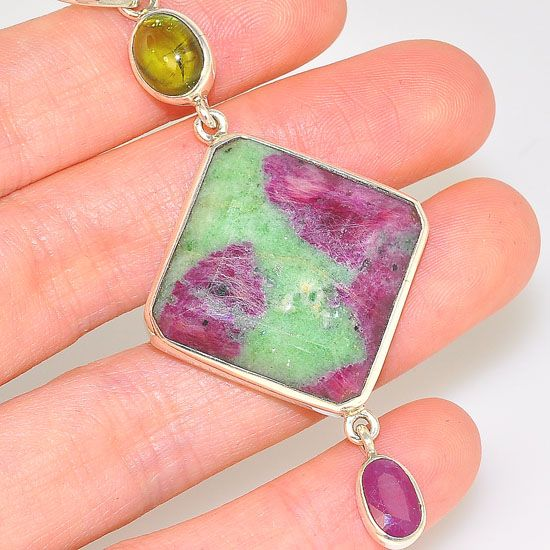Sterling Silver Ruby Zoisite, Ruby and Green Tourmaline Trio Pendant