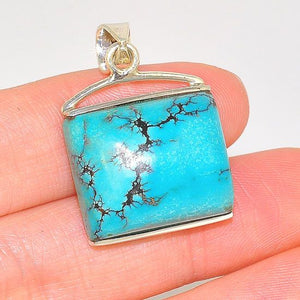 Sterling Silver Beautiful Soft Square Turquoise Pendant