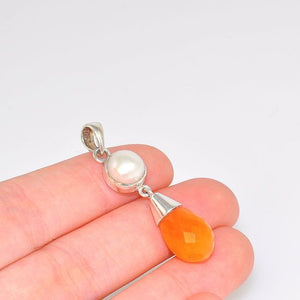 Sterling Silver Pearl and Carnelian Raindrop Duet Pendant