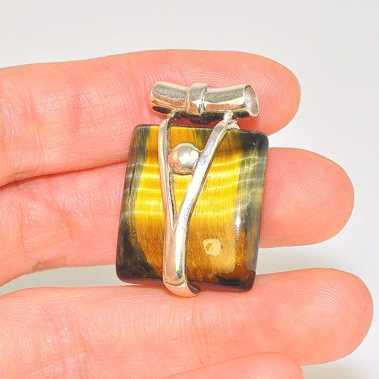 Sterling Silver Beautiful Tiger Eye Soft Square Pendant
