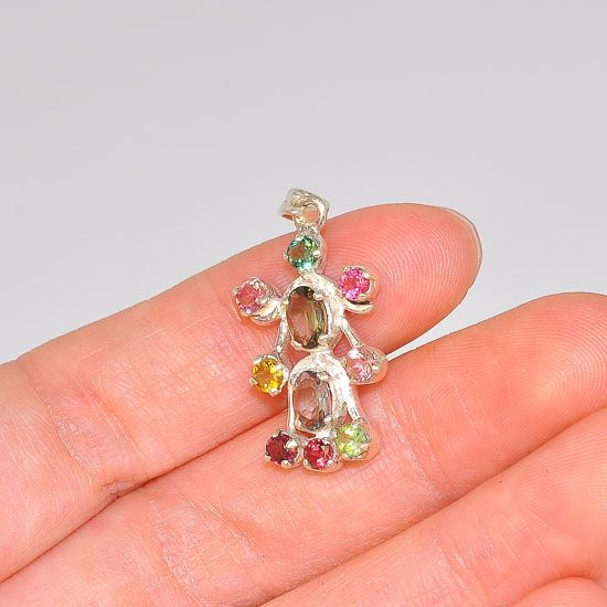 Sterling Silver India Multicolored Tourmaline Elegant Design Pendant