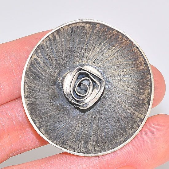 Oxidized Sterling Silver Blooming Rose Centered Bowl Medallion Pendant