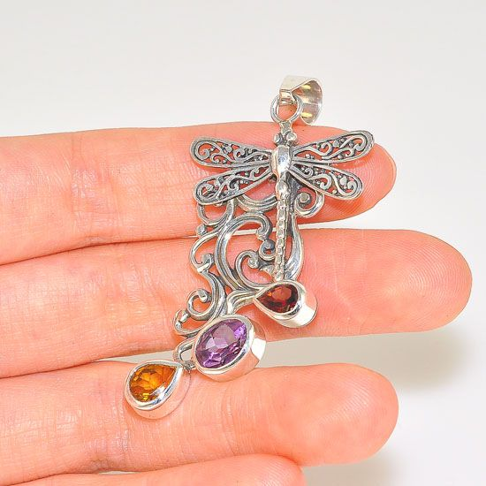 Sterling Silver Majestic Carved Dragonfly Garnet, Amethyst and Citrine Pendant