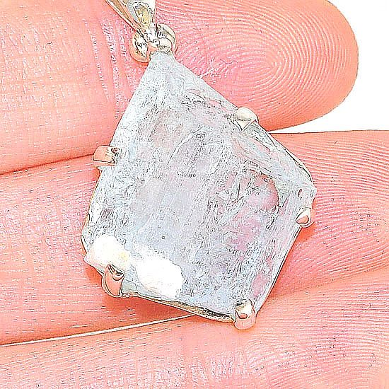 Sterling Silver 26.1 Carats Aquamarine Crystal Pendant