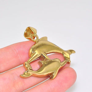 Charles Albert Alchemia Carved Swimming Dolphins Pendant