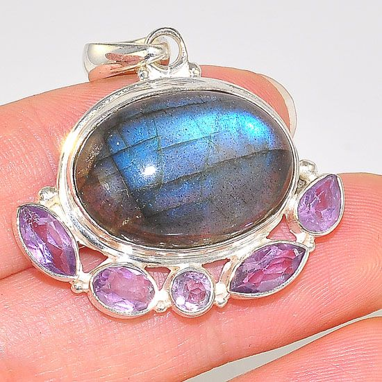 Sterling Silver Labradorite Oval and Amethyst Bead Design Pendant