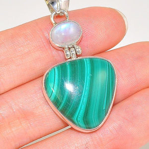 Sterling Silver Malachite and Moonstone Duo Pendant