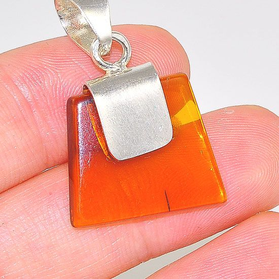 Sterling Silver Delicate Baltic Honey Amber Tribal Piece Pendant