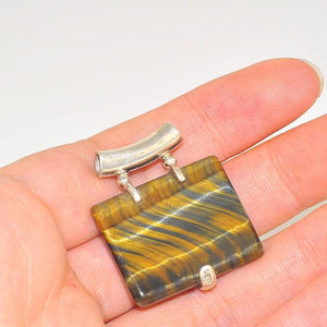 Sterling Silver Tiger Eye Soft Rectangle Pendant