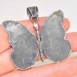 Oxidized Sterling Silver Hammered Butterfly Pendant