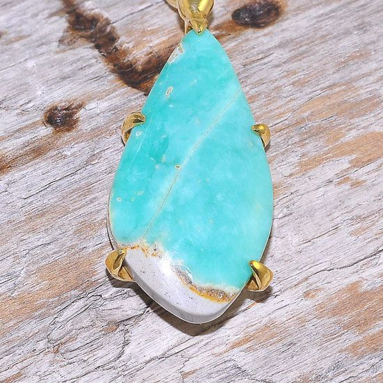 18K Gold Plated Over Brass 14.4 Carats Variscite Pendant