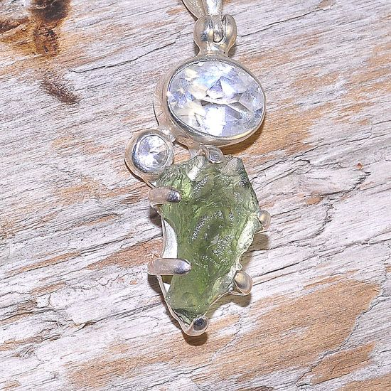 Sterling Silver 2.1 Carats Moldavite and 1.9 Carats White Topaz Pendant