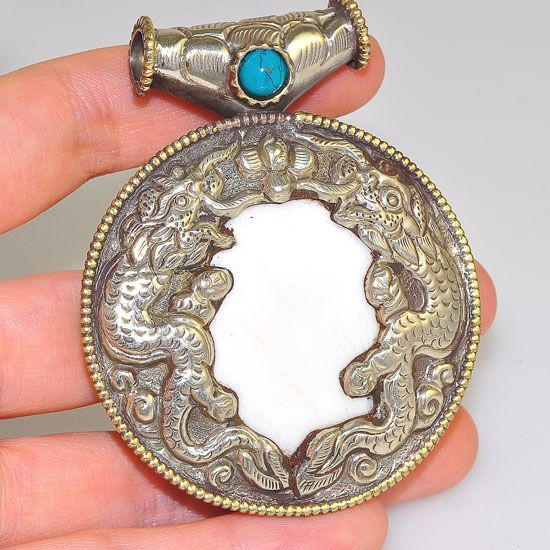 Silver Plated Tibetan Conch Shell and Turquoise Bead Dragon Carved Medallion Pendant