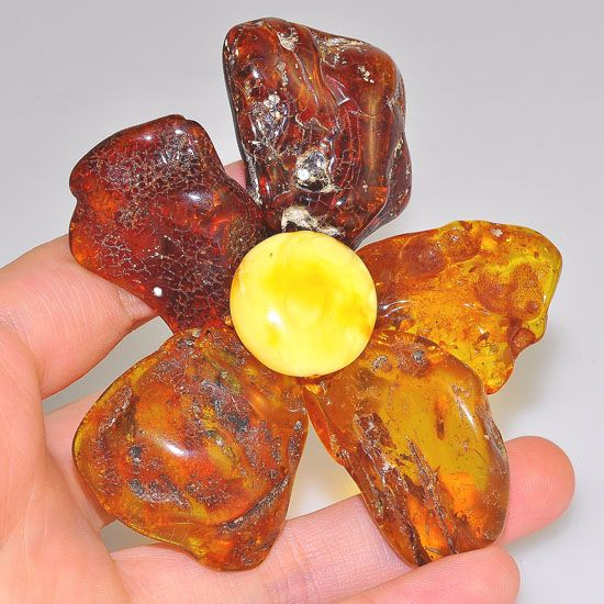 Genuine Baltic Honey Amber and Butterscotch Amber Oversized Flower Pendant