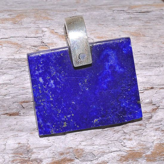 Sterling Silver Afghan Lapis Lazuli Rectangle Bar Pendant