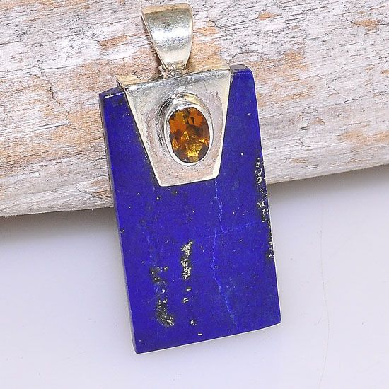 Sterling Silver Lapis Lazuli Rectangle Bar and Citrine Bead Pendant
