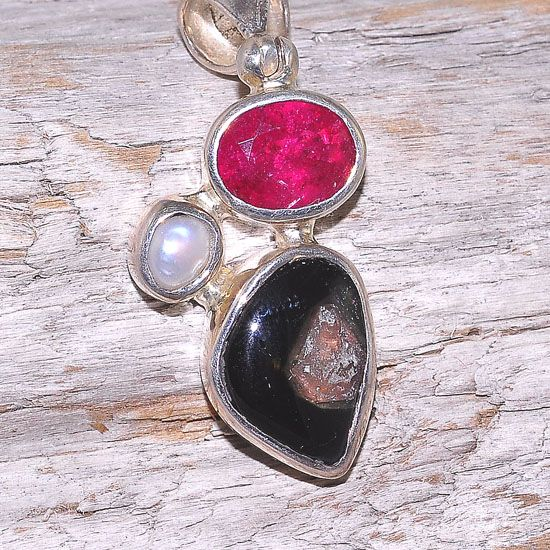 Sterling Silver Pearl, 6.1 Carats Pink and Watermelon Tourmaline Trio Pendant