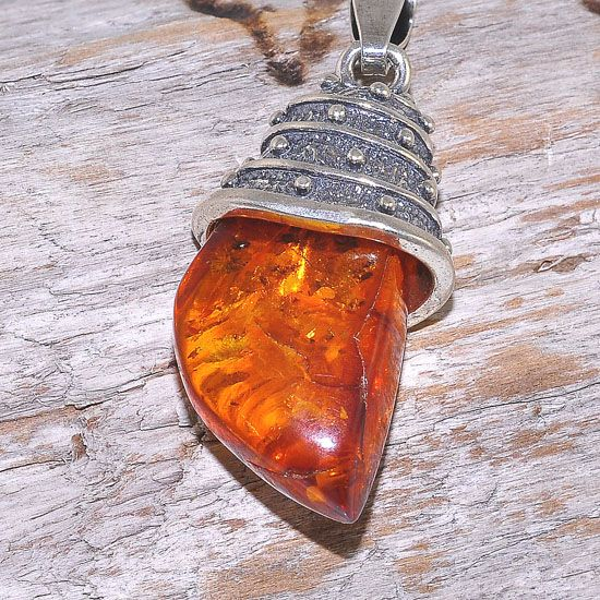 Sterling Silver Baltic Honey Amber Nugget Pendant