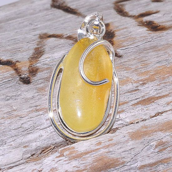 Sterling Silver Baltic Butterscotch Amber Elegant Oval Pendant