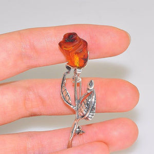Sterling Silver Baltic Honey Amber Rose Carved Pin
