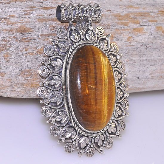 "Bold 2.75"" Tall Sterling Silver Tiger Eye Exotic Frame Ethnic Tribal Oval Pendant"