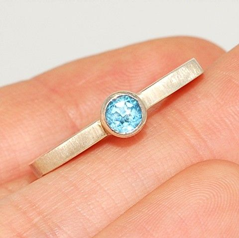 Sterling Silver, Blue Topaz Ring