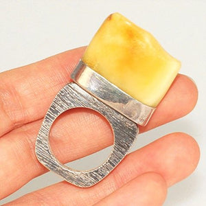 Sterling Silver, Baltic Butterscotch Amber Ring