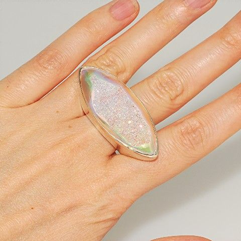 Sterling Silver, Opalized Druzy Marquise Ring