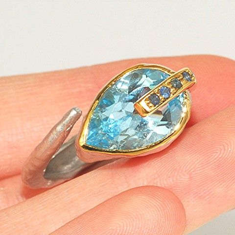Rhodium Plated Sterling Silver, 22 K Gold Vermeil, Blue Topaz, Sapphire Ring