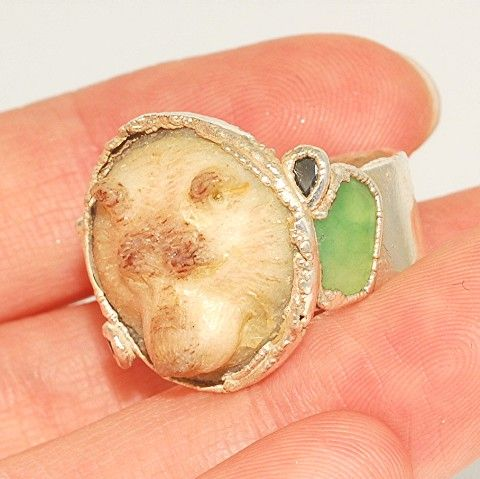.999 Fine Silver, Carved Bone Bear Face, Tourmaline Ring