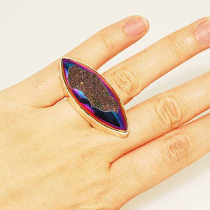 Sterling Silver Titanium Druzy Marquise Ring