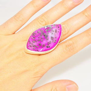 Bold Charles Albert Sterling Silver Pink Druzy Ring Size Adjustable from 6 to 10