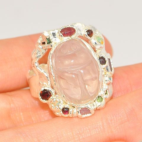 .999 Fine Silver Carved Rose Quartz Scarab, Garnet, Tourmaline and Opal Ring