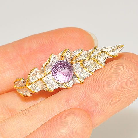 22K Gold Vermeil and Sterling Silver, Amethyst Leaf Designer Ring