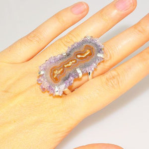 Sterling Silver Amethyst Crystal Cluster Slice Ring