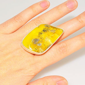 Sterling Silver Baltic Butterscotch Amber Ring